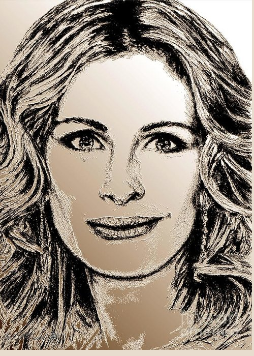 Julia Roberts Greeting Card featuring the digital art Julia Roberts In 2008 by J McCombie