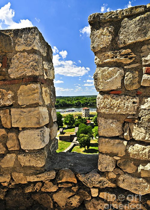 Kalemegdan Greeting Card featuring the photograph Kalemegdan Fortress In Belgrade by Elena Elisseeva