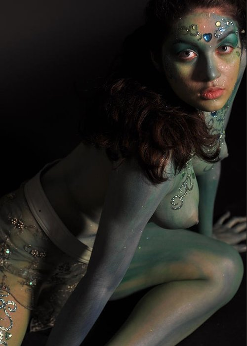 Blue Greeting Card featuring the photograph Kasper Body Painting by RoByn Thompson