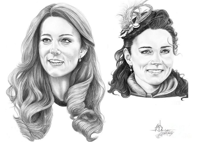 Kate Greeting Card featuring the drawing Kate Middleton by Murphy Elliott