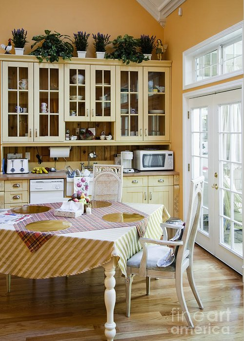 Appliances Greeting Card featuring the photograph Kitchen Cabinets And Table by Andersen Ross