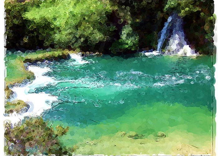 Landscapes Greeting Card featuring the painting Krka - Croatia by Franck Guarinos
