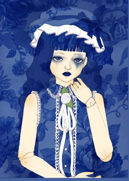 Doll Greeting Card featuring the digital art Kyoko by Sara Vidigal