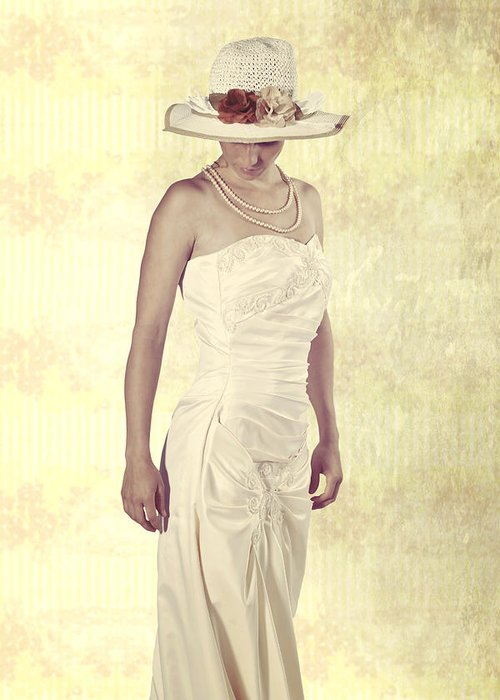 Female Greeting Card featuring the photograph Lady In White Dress by Joana Kruse