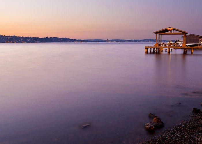 Twilight Greeting Card featuring the photograph Lake Washington Twilight by Manju Shekhar