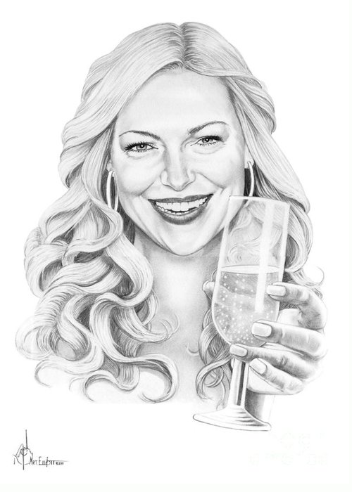 Drawing Greeting Card featuring the drawing Laura Prepon by Murphy Elliott