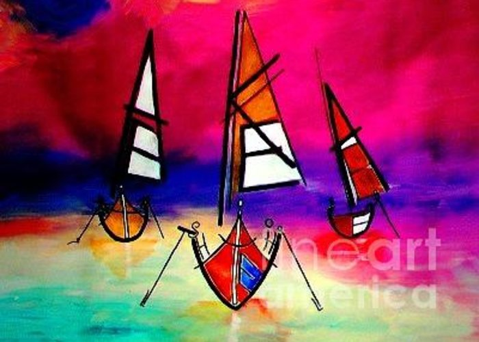 Boats Greeting Card featuring the painting Letters by Artist SinGh