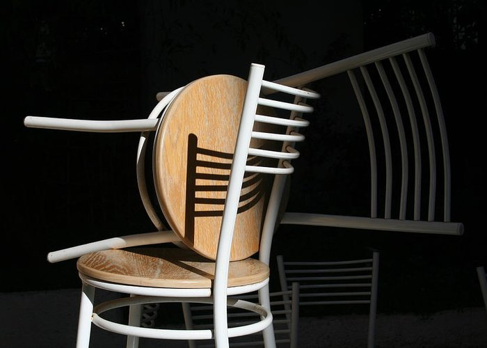 Chair Shades Shadows Dark Greeting Card featuring the photograph Light And Shadow by Adeeb Atwan