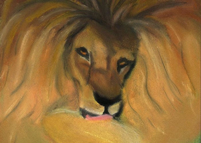 Cat Greeting Card featuring the mixed media Lion by Caitlin Pennington
