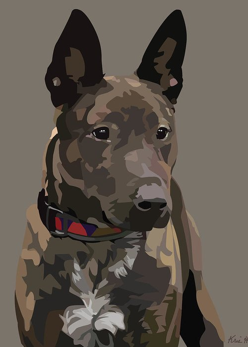 Mixed-breed Dog Greeting Card featuring the digital art Listening by Kris Hackleman