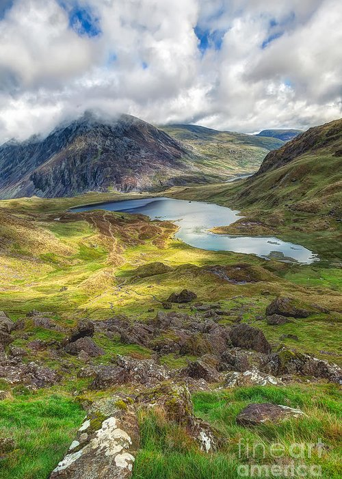Clouds Greeting Card featuring the photograph Llyn Idwal Lake by Adrian Evans