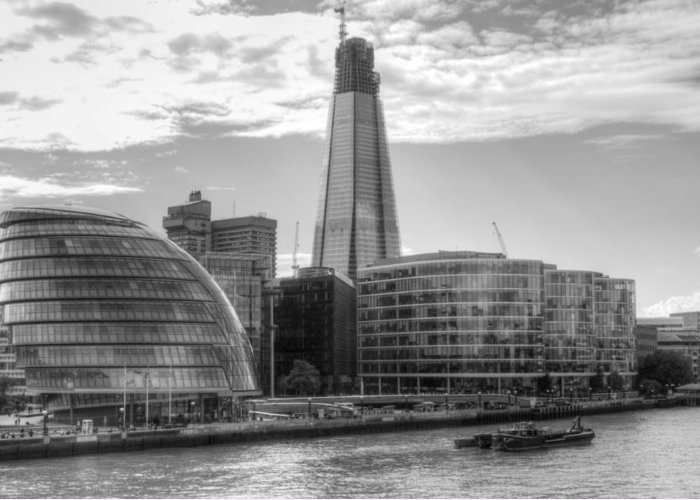 Shard Greeting Card featuring the photograph London Assembly and Shard by Chris Day