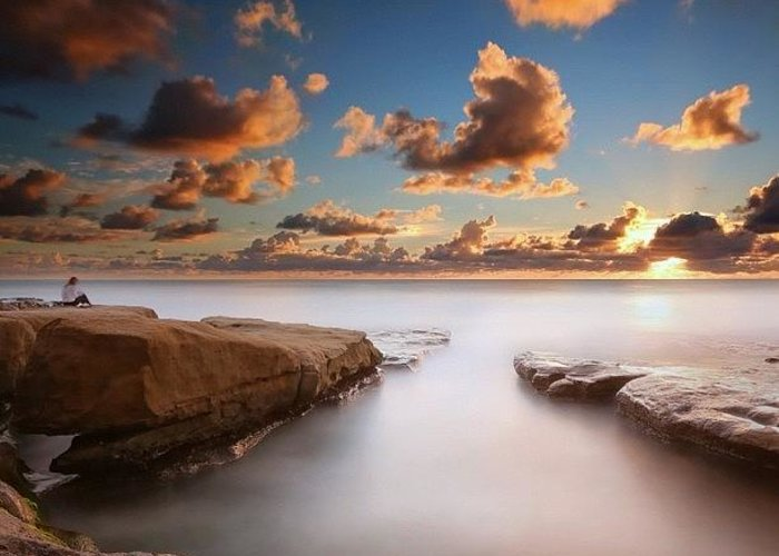 Greeting Card featuring the photograph Long Exposure Sunset At A San Diego by Larry Marshall