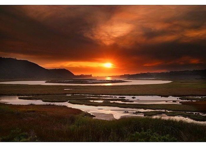 Greeting Card featuring the photograph Long Exposure Sunset Looking Across The by Larry Marshall