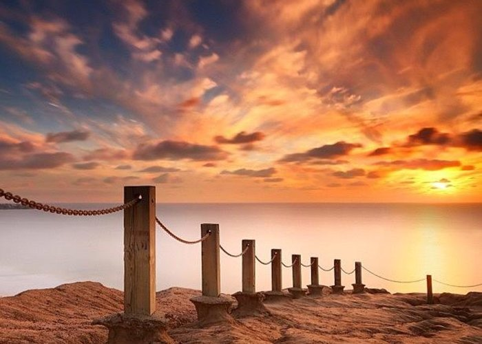 Greeting Card featuring the photograph Long Exposure Sunset Taken From The by Larry Marshall