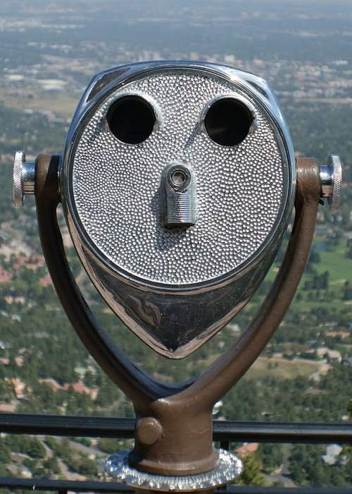 Coin Operated Binoculars Greeting Card featuring the photograph Look Into My Eyes by Ernie Echols