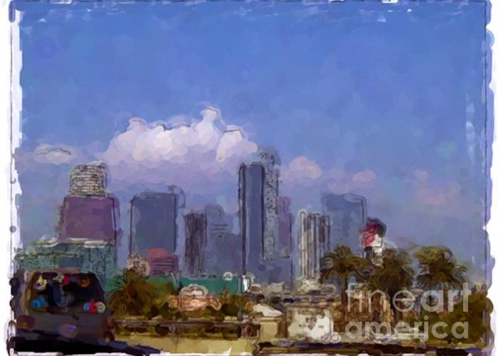 Landscapes Greeting Card featuring the painting Los Angeles - California by Franck Guarinos