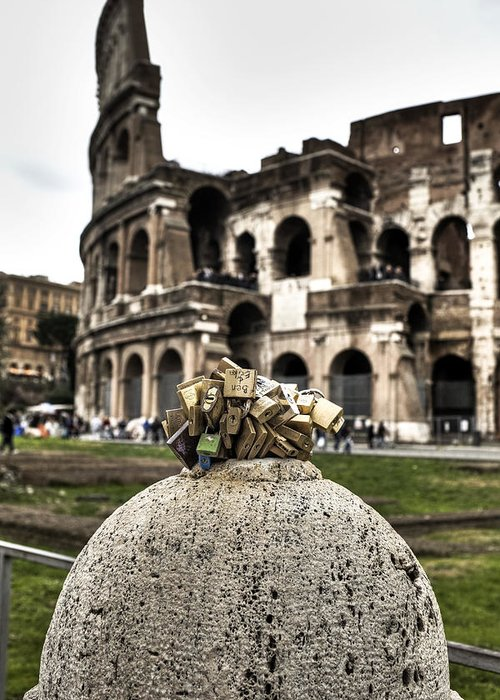 Love Greeting Card featuring the photograph love locks in Rome by Joana Kruse