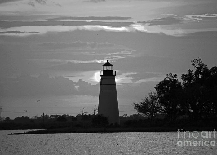 Lighthouse Photograph Greeting Card featuring the photograph Madisonville Lighthouse Sunset by Luana K Perez