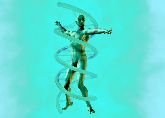 Double Helix Greeting Card featuring the photograph Man And Dna by Christian Darkin