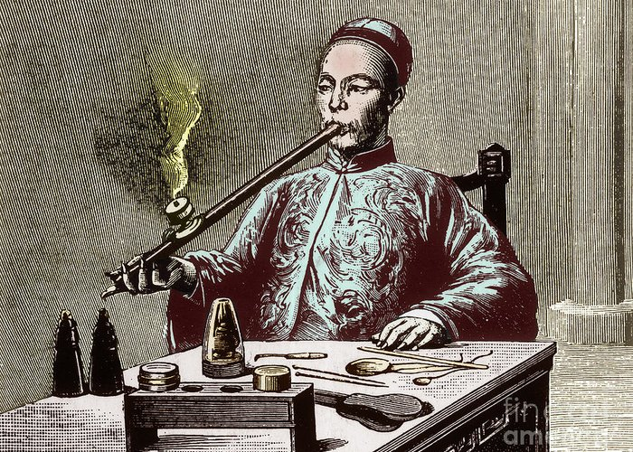 Enhanced Greeting Card featuring the photograph Man Smoking Opium by Science Source