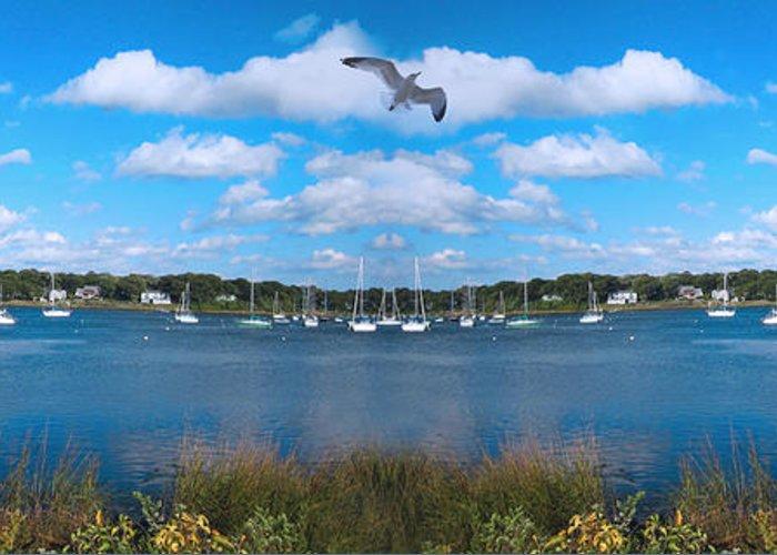 New England Marina Park Greeting Cards