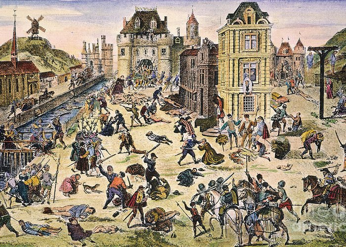 1572 Greeting Card featuring the photograph Massacre Of Huguenots by Granger