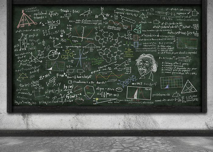 Algebra Greeting Card featuring the photograph Maths Formula On Chalkboard by Setsiri Silapasuwanchai