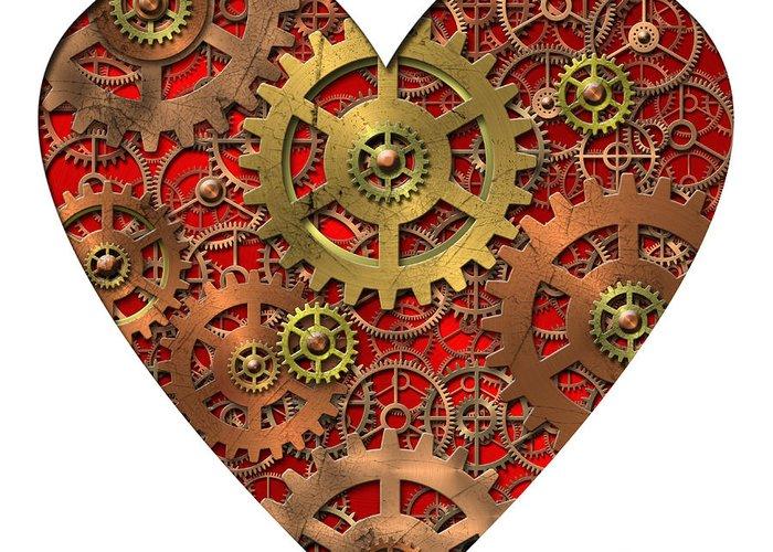 Heart Greeting Card featuring the digital art Mechanical Heart by Michal Boubin