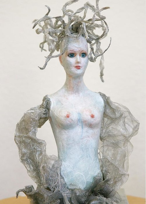 Medusa Greeting Card featuring the sculpture Medusa by Ruth Edward Anderson