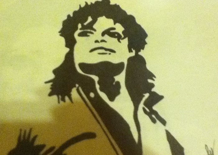 Michael Jackson Greeting Card featuring the drawing Michael Jackson by Damian Howell