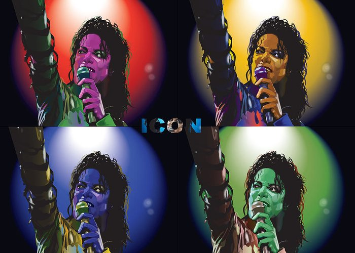 Celebrity Art Greeting Card featuring the digital art Michael Jackson Icon4 by Mike Haslam