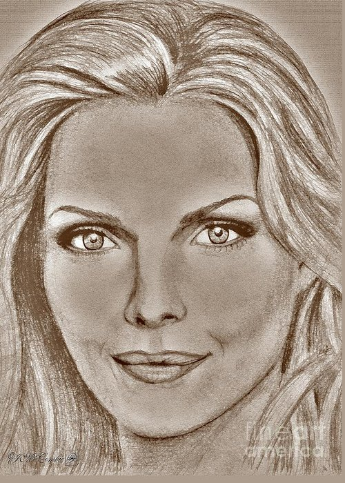 Michelle Pfeiffer Greeting Card featuring the digital art Michelle Pfeiffer In 2010 by J McCombie