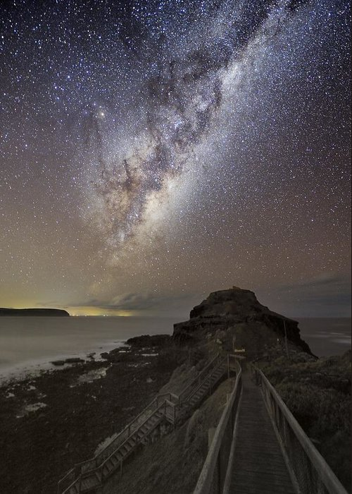 Milky Way Greeting Card featuring the photograph Milky Way Over Cape Schanck, Australia by Alex Cherney, Terrastro.com