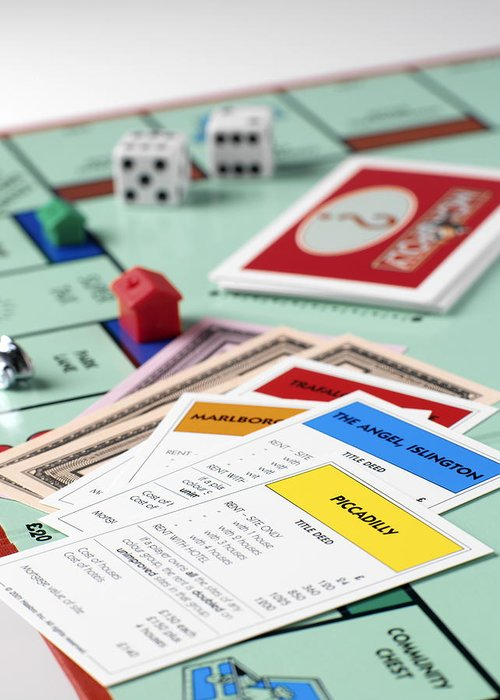 Monopoly Greeting Card featuring the photograph Monopoly Board Game by Tek Image