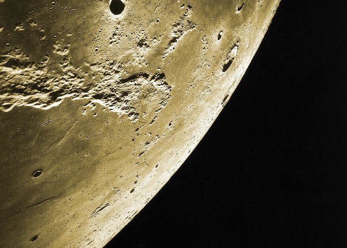 Enhanced Greeting Card featuring the photograph Moon, Apollo 16 Mission by Science Source
