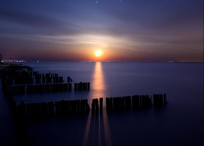 Lake Greeting Card featuring the photograph Moonrise by Cale Best