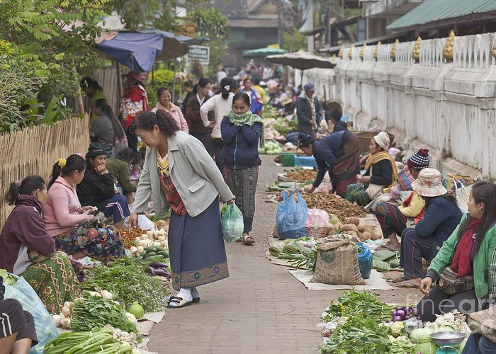 Asia Greeting Card featuring the photograph Morning Market In Luang Prabang by Roberto Morgenthaler