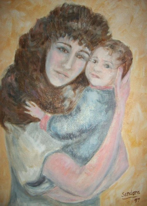 Portrait Of Mother And Child Greeting Card featuring the painting Mother and Child by Joseph Sandora Jr