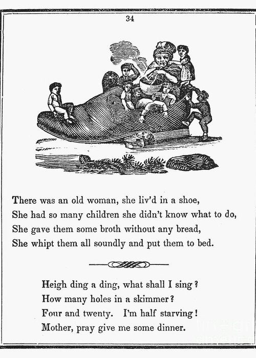 1833 Greeting Card featuring the photograph Mother Goose, 1833 by Granger