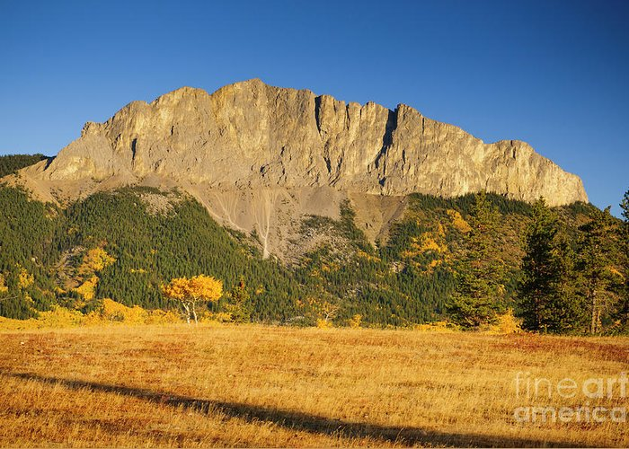 Greeting Card featuring the photograph Mt Yamnuska by Ginevre Smith