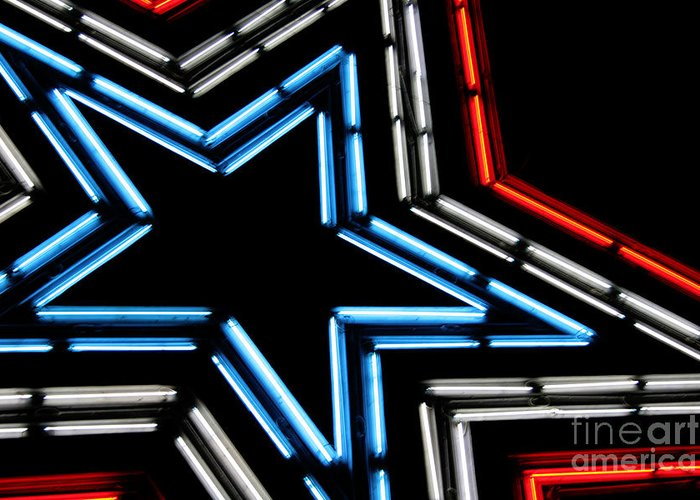 Abstract Greeting Card featuring the photograph Neon Star by Darren Fisher