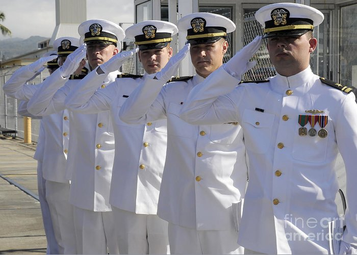 Change Of Command Greeting Card featuring the photograph Officers Render Honors During A Change by Stocktrek Images