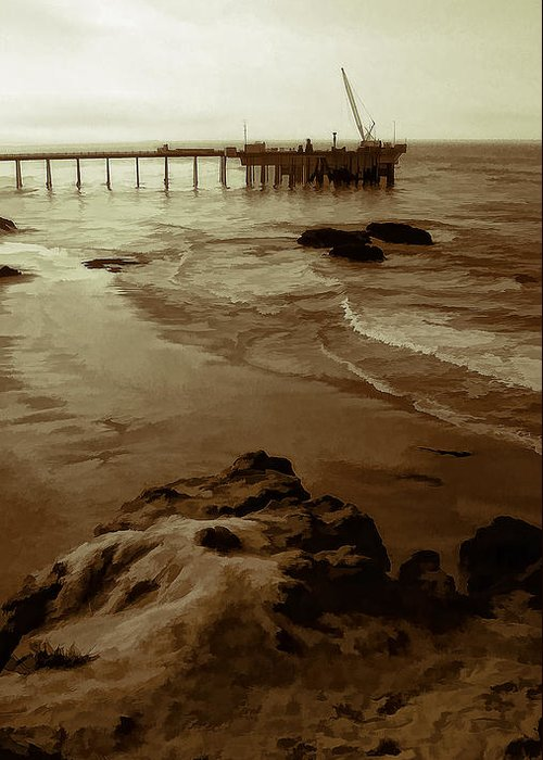 Oil Pier Greeting Card featuring the photograph Oil Pier by Ron Regalado