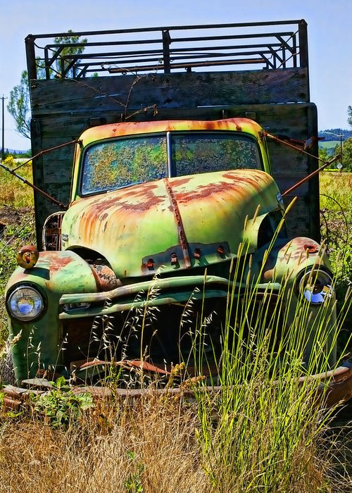 Green Greeting Card featuring the photograph Old Green Truck by Garry Gay