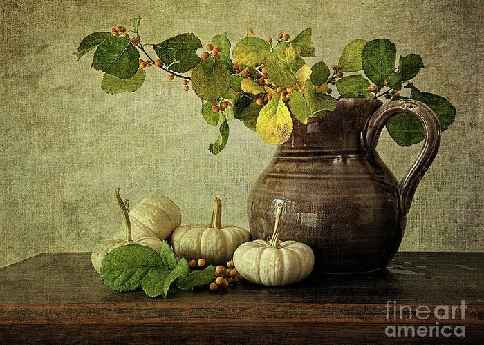 Autumn Greeting Card featuring the photograph Old Pitcher With Gourds by Sandra Cunningham