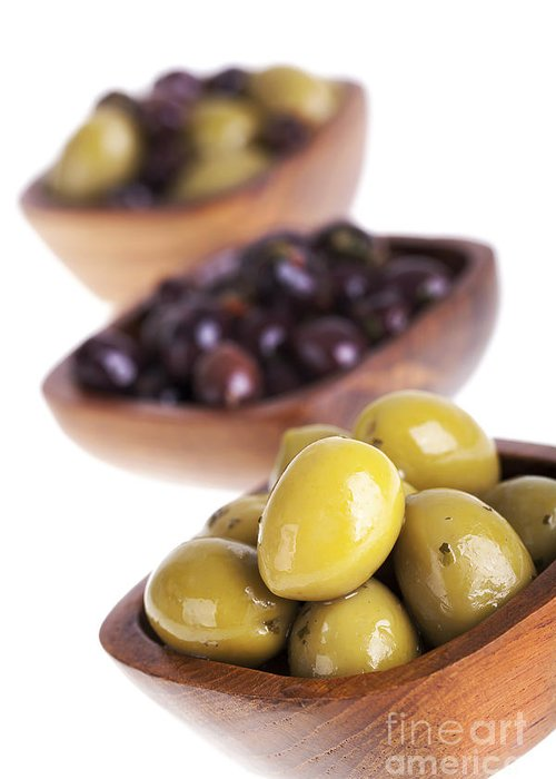 Antipasti Greeting Card featuring the photograph Olive Bowls by Jane Rix