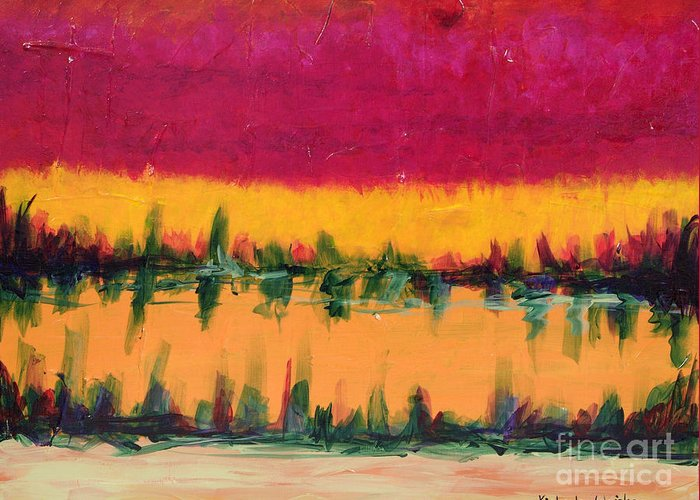 Pond Greeting Card featuring the painting On Golden Pond by Kimberlee Weisker