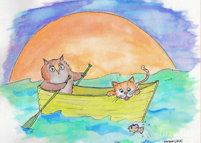 Nursery Rhyme Owl Pussycat Pea Green Boat Greeting Card featuring the drawing Owl And Pussycat by Marybeth Friel-Patton