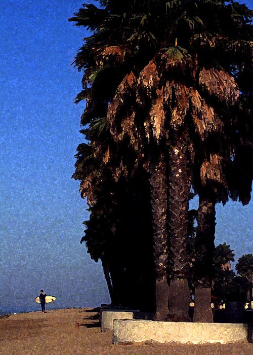 Palm Trees At Surfer's Point Greeting Card featuring the photograph Palm Trees At Surfers Point by Ron Regalado